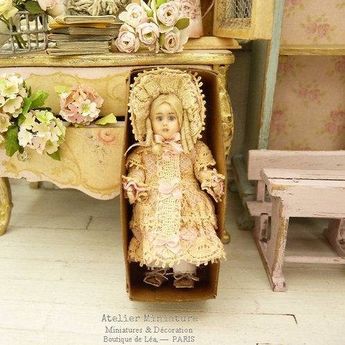 Miniature Bebe Jumeau style, 5,5cm 2.16'', French Doll, Old Lace, Dollhouse