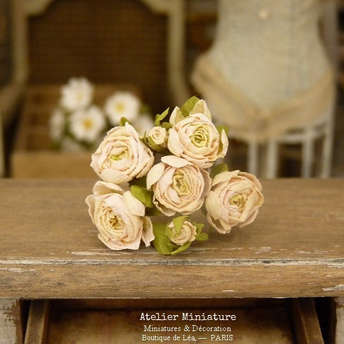 Roses Miniatures, Fleurs en Papier, 100% fait main, Maison de Poupée, 1/12