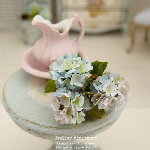 3 Hortensias Miniatures Bleus, Fleurs en Papier,100% fait main, 1/12