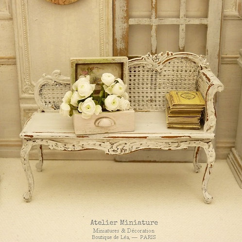 Méridienne Miniature Louis XV, Imitation Cannage, Maison de Poupée, 1/12