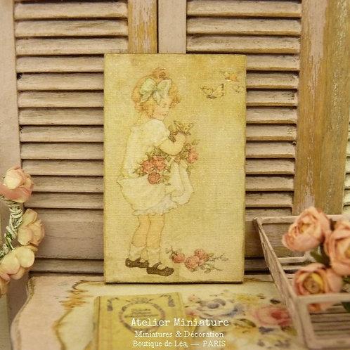 Panneau Miniature en Bois, Pastel Fillette Roses et Papillons, Échelle 1/12