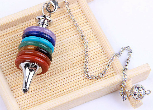 Кулон-маятник из металла и разноцветного кварца (без цепи)