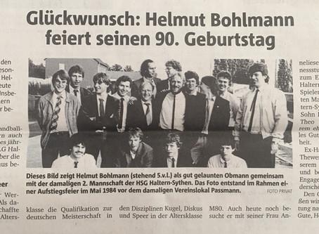 Unser Ehrenmitglied Helmut Bohlmann wird heute 90 Jahre alt
