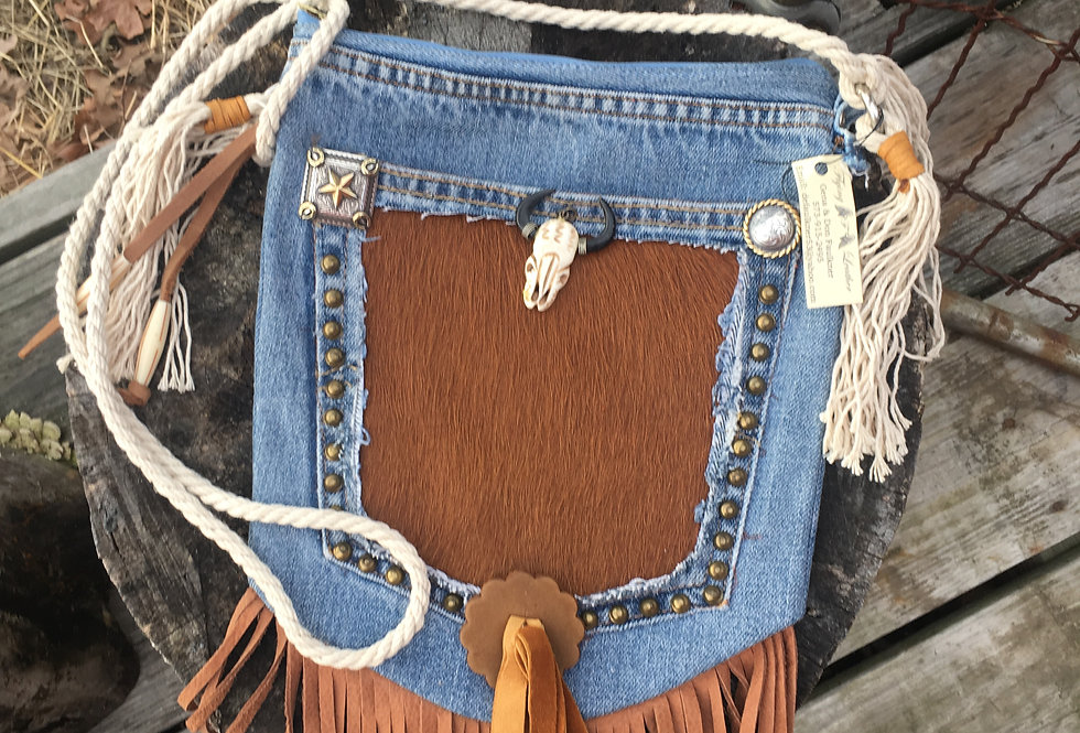 Hair-on  Blue Jean Cross Body