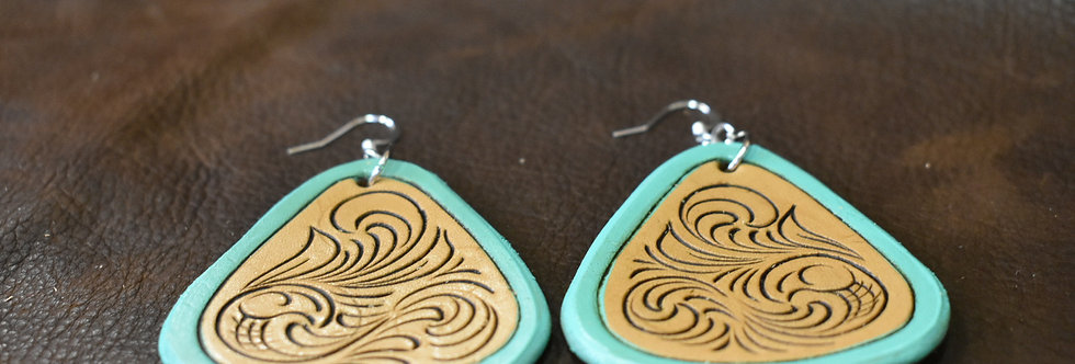 Turquoise Tooled Earring