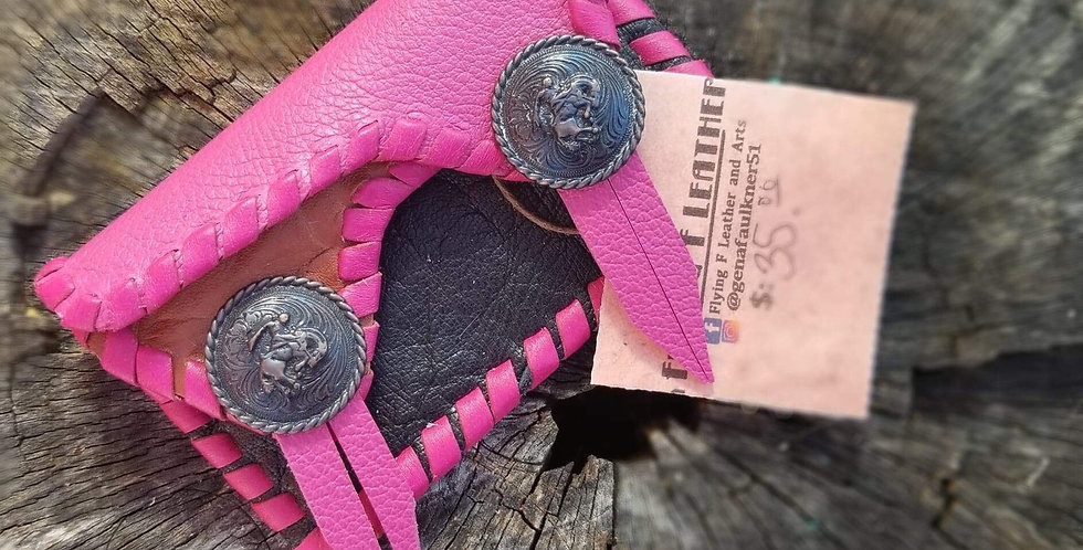 Pink Bronc Concho 2 Pocket Card Carrier