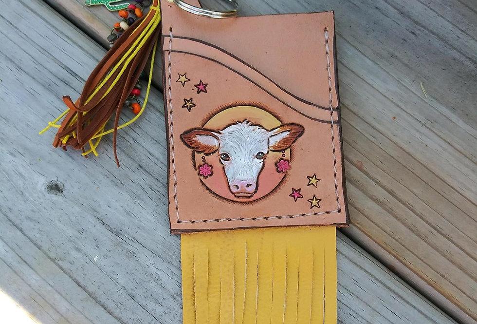 Cow Star Fringe Keychain Card Carrier