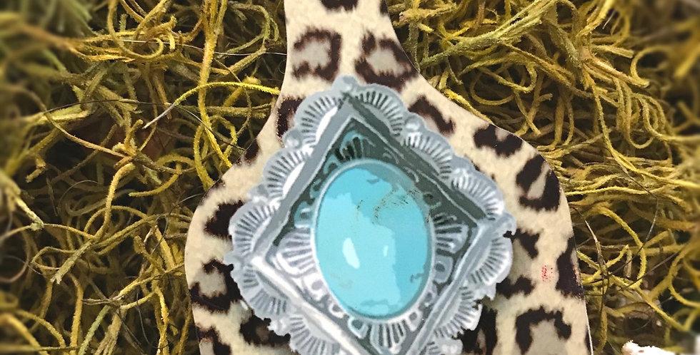 Turquoise  Cheetah Cowtag Keychain