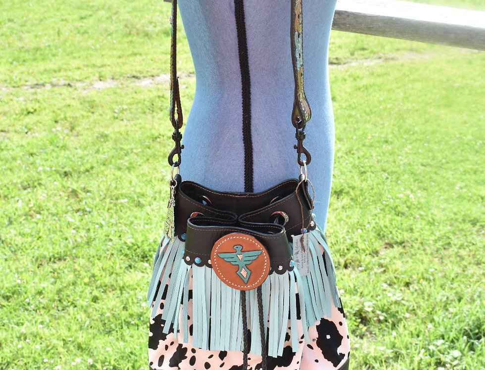 Cowhide ThunderBird Bucket Bag