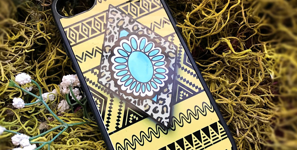 Cheetah Aztec Turquoise Phone Case