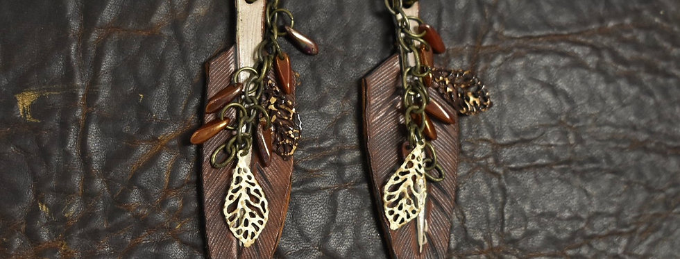 Feather Earring with Leaf Jewel