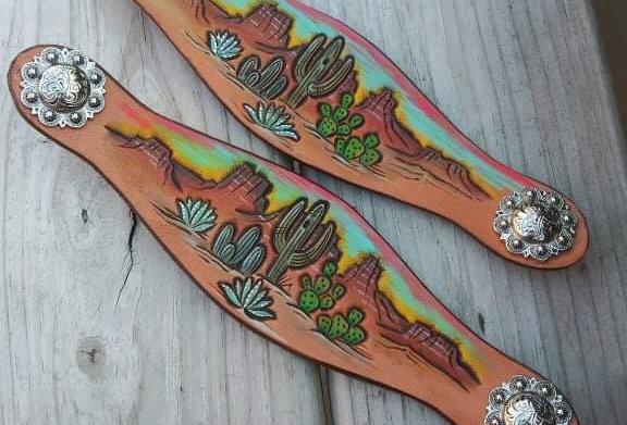 Desert Cactus Scene Croc Straps