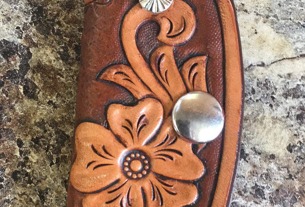 Floral Tan Carved Key Case