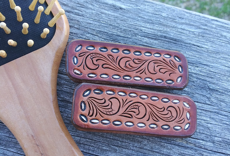 Set of 2 Leather hair clips