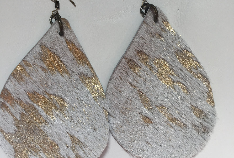 Large white gold Hair on Earrings