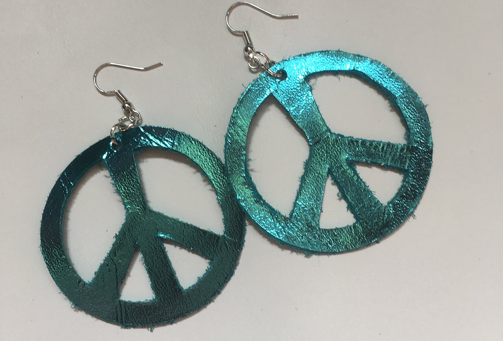 Peace Blue Sign Earrings