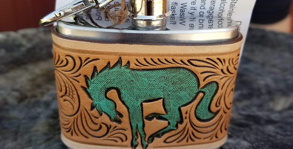 Turquoise Bronc Flask - Small