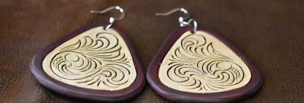 Brown Tooled Earrings