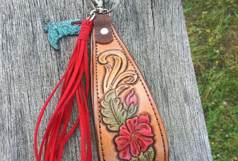 Rose Tooled Floral Key Wristlet