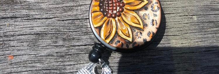 Sunflower Round Badge Reel
