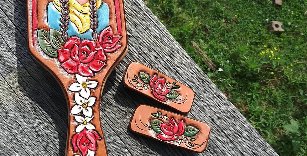 Leather Cowgirl Hairbrush