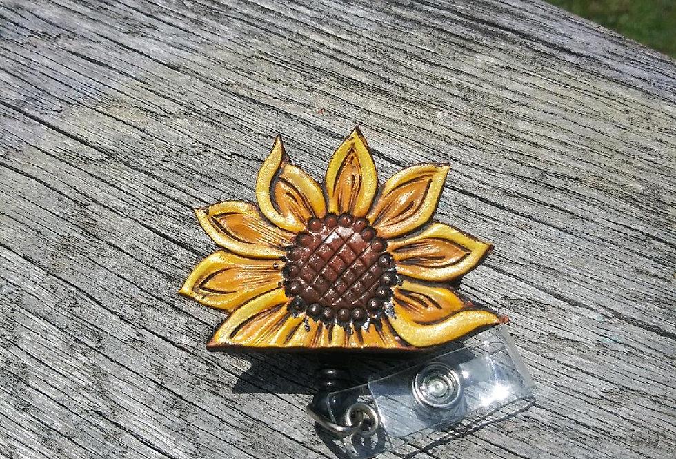 Sunflower Square Back Badge Reel