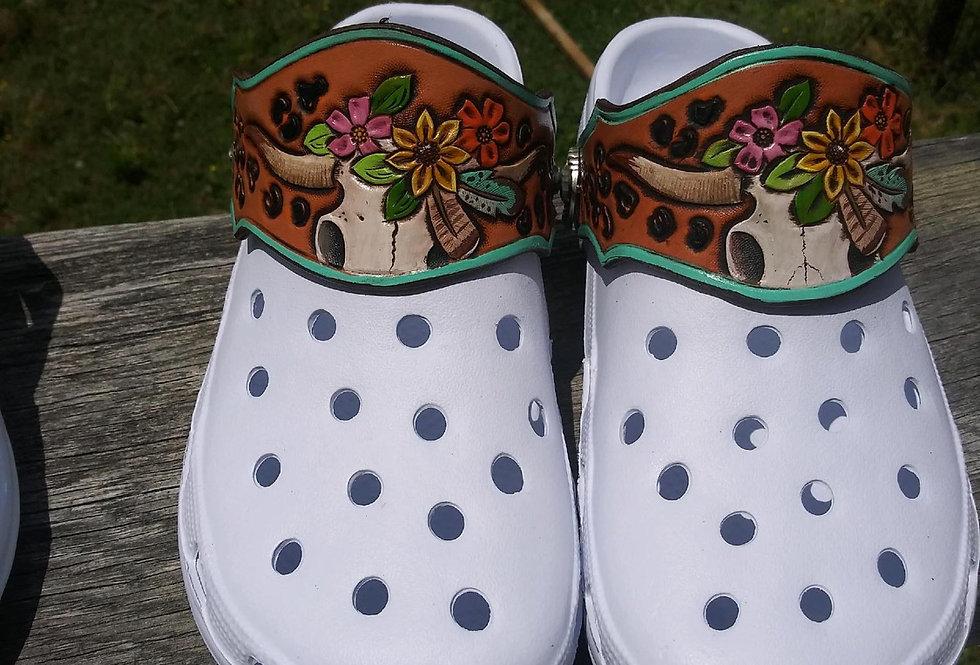 Floral Cheetah Skull Shoe + Strap Combo