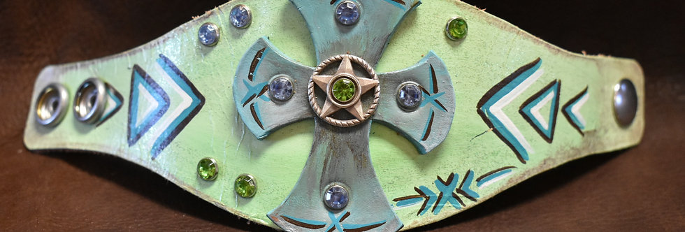 Green/Blue Aztec Cross Cuff