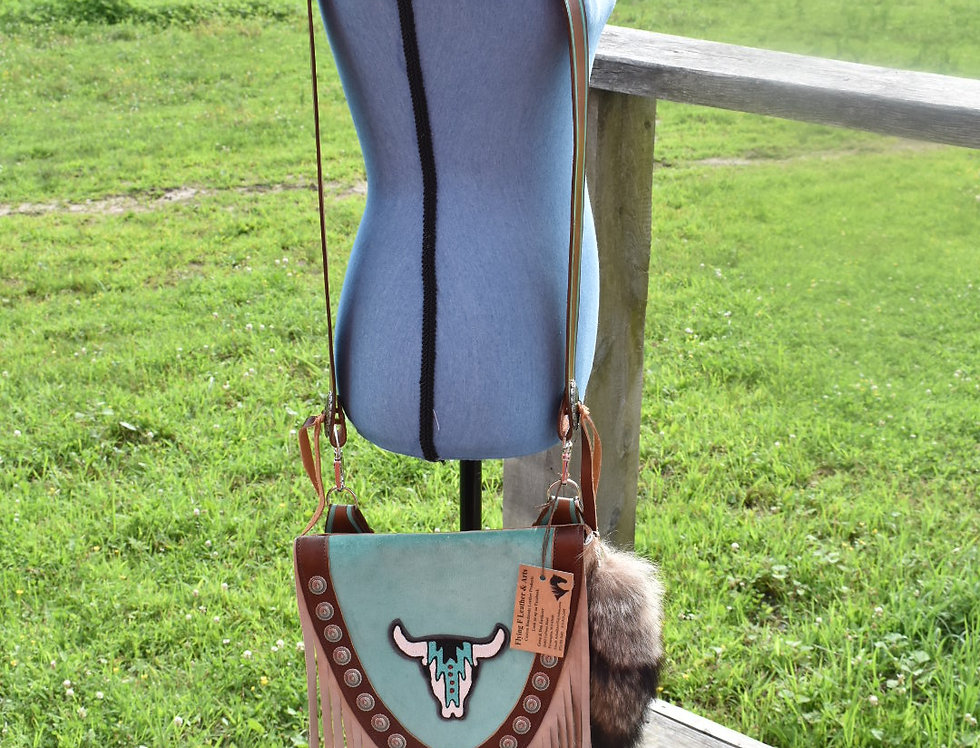 Blue Concho Crossbody Purse with Patch