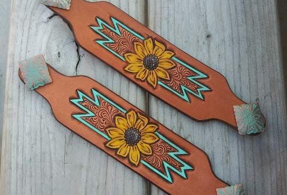 Sunflower Swirl Croc Strap Pair
