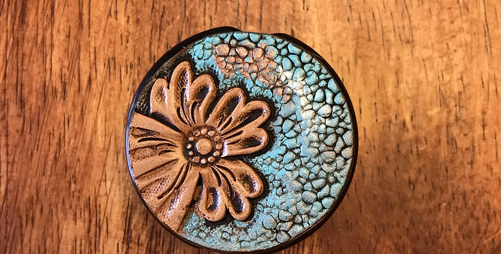 Turquoise Floral ID Tag