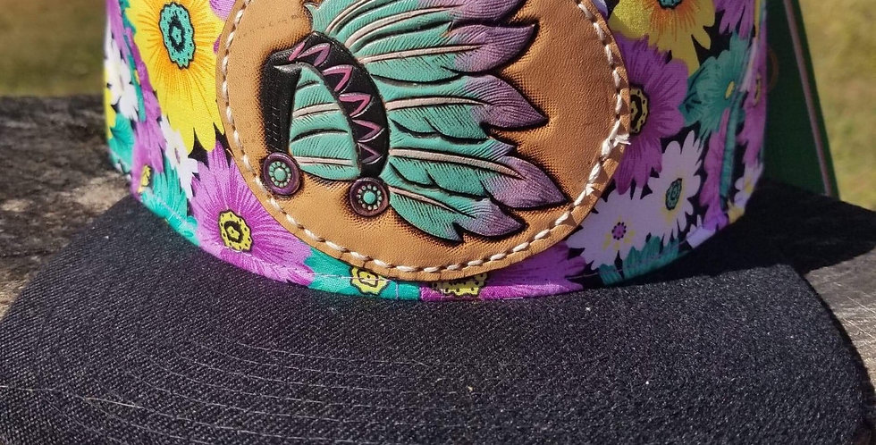 Purple Floral Headdress Hat