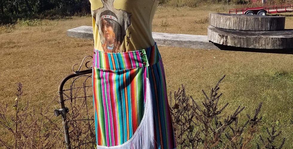 Handmade Serape Fringe Skirt