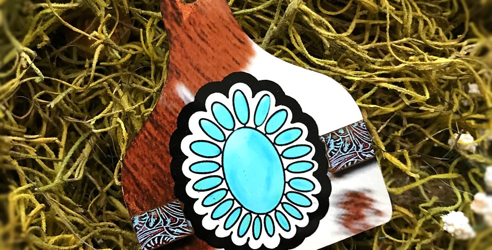 Turquoise Hide Cowtag Keychain