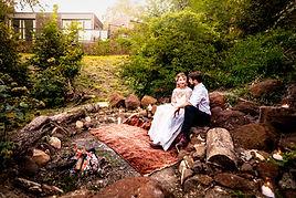 Wedding photo around firepit