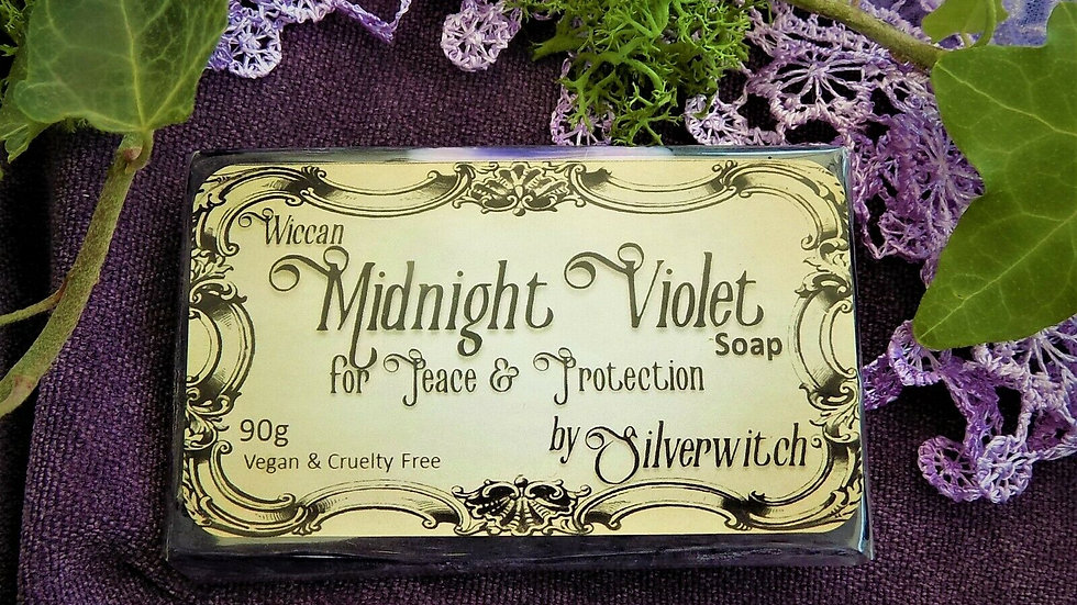 Wiccan Midnight Violet Soap for Protection & Peace Witchcraft Goddess 90g Vegan