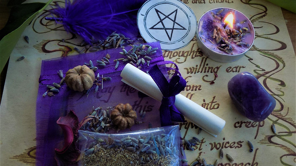 Ease Anxiety  Spell Kit Ritual Magic with Handmade Candle and Crystal