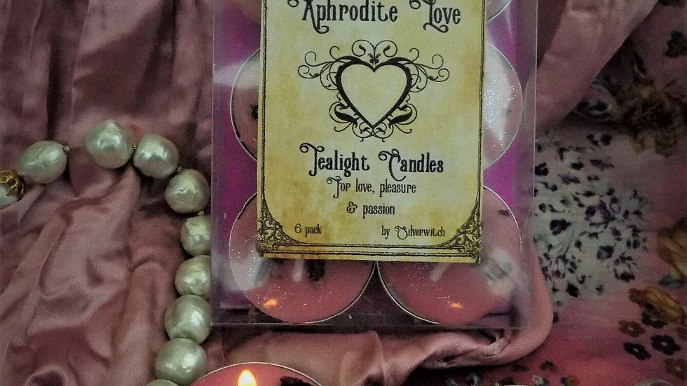 Aphrodite  HandmadeTea Lights  Pack of Six with Rose and VioletSi