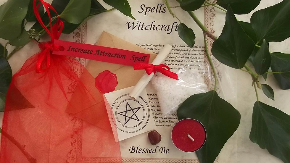 Increase Attraction Spell Kit Bath Magic with Candle and Crystal