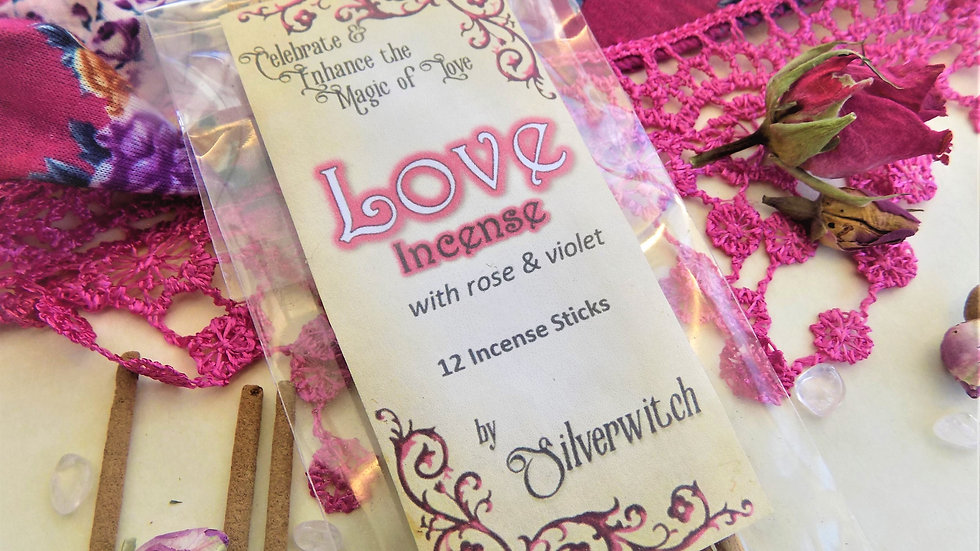 Love Incense  Wiccan Aphrodite Rose and Violet pack of 12