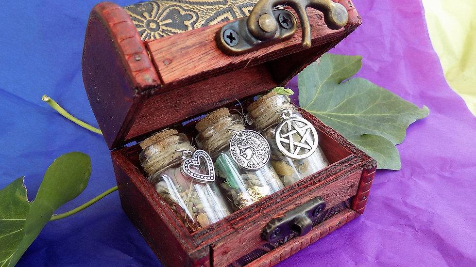 Witchcraft Trio Spell Bottles In Wooden Trinket Box Money, Love and Luck