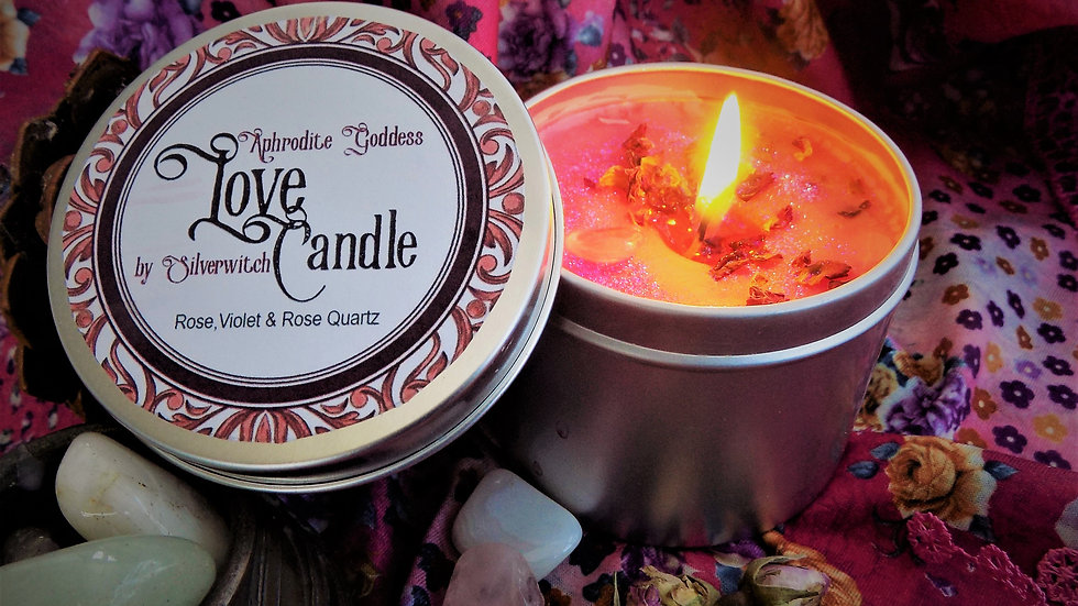 Aphrodite Love Candle Tin Handmade Wiccan with Rose Violet & Quart