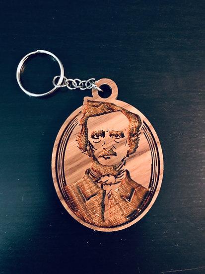 Wooden Keychain: Edgar Allan Poe