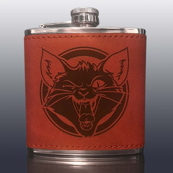 Flask: Red Leatherette:The Black Cat