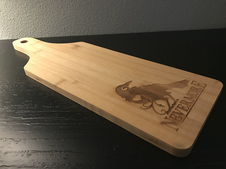 Bamboo Serving Paddle: Raven Nevermore