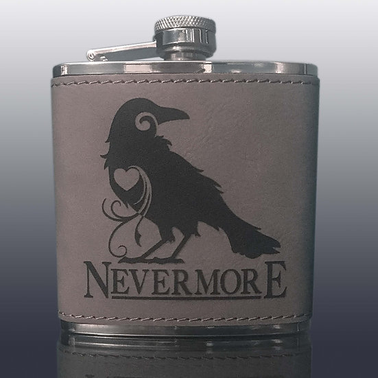 Flask: GrayLeatherette: The Raven
