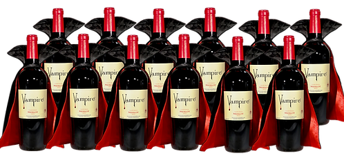 VAMPIRE® MERLOT 12 BOTTLE CASE WITH WINE CAPES