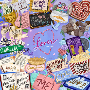 Lover by Taylor Swift Drawing Collage