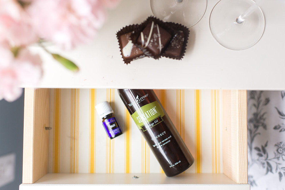chocolate, nightstand, Sensation oil, valor essential oil, romance, intimacy, oils in the bedroom, massage oil, essential oils, young living, young living essential oils, Lucy libido