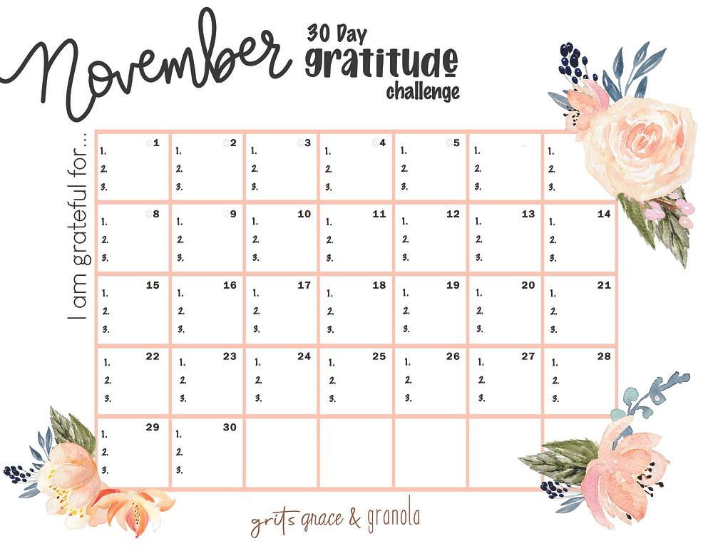 gratitude challenge, 30 days gratitude challenge, November gratitude, thanksgiving, grateful, blessed, grits grace and granola, Lauren Jackson
